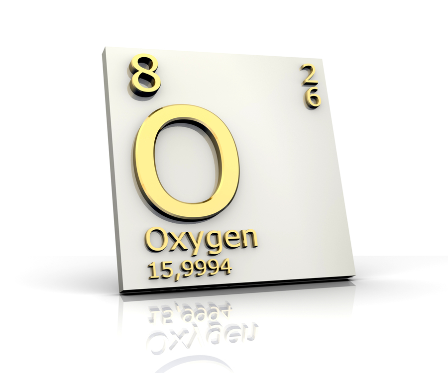 Example of element box showing properties of oxygen